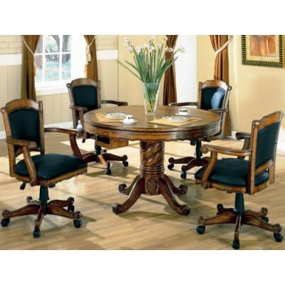 Three In one Chestnut Poker / Bumper Pool / Dining Set by Coaster -