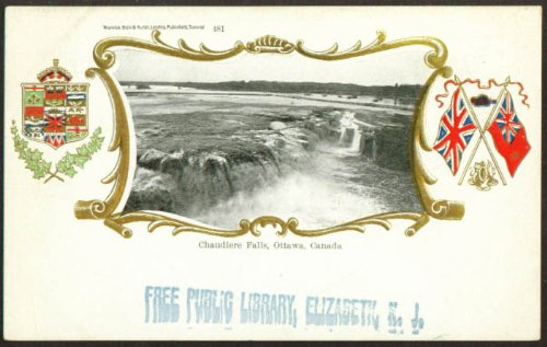 (Chaudiere Falls at Ottawa ON embossed gilt accents undivided back postcard 1909)