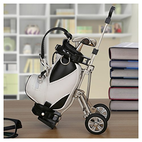WEITRON Golf Gifts Pens And Bag Holder With 3 Aluminum Mini Decorations For Office Desk Novelty Unique Birthday Or Christmas Present