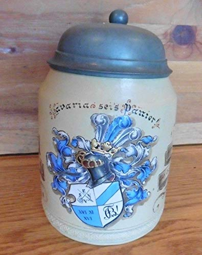 - Bavaria Sei's Panier! Beer Stein Mettlach Tankard 1/2 L 284 Coat of Arms Crest