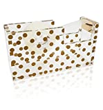 OnDisplay Luxe Acrylic Clear and Metallic Gold Tape Dispenser - Gold Polka Dot