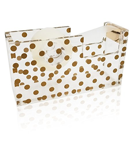 OnDisplay Luxe Acrylic Clear and Metallic Gold Tape Dispenser - Gold Polka Dot by OnDisplay