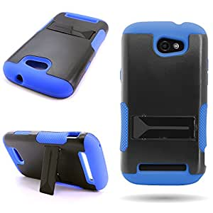 [ ZTE Warp Sync / N9515 ] Rugged Case With Kickstand by Wireless Central - Black Hard Blue Soft Silicone