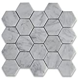 Carrara White Italian Carrera Marble Hexagon Mosaic Tile 3 inch Polished