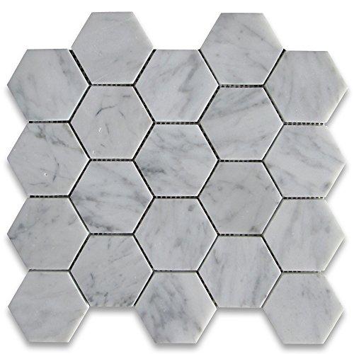 White Marble Tiles - Carrara White Italian Carrera Marble Hexagon Mosaic Tile 3 inch Polished