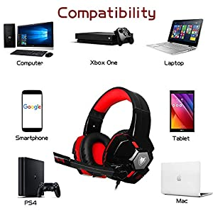 PS4 Xbox One Gaming Headset with Microphone Stereo PC Headphones 3.5mm Wired Over Ear Adjustable Leather Headband Volume Control Noise Cancelling for Computer, Laptop, Mac, Tablet, Chat (Black-Red)