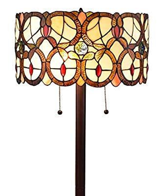 "Amora Lighting Tiffany Style Floor Lamp Vintage Antique 63"" Tall Stained Glass Brown Red Tan Traditional Light Decor Bedroom Living Room Reading Gift AM342FL16, Multicolor"