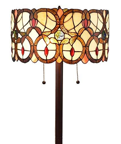(Amora Lighting AM342FL16 Tiffany Style Double Light Floor Lamp,)
