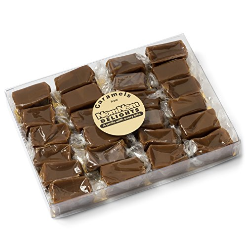 Sea Salt Chocolate Caramels : Gourmet Food Candy Gift | 24 Pieces Individually Wrapped | Handmade with Real Butter by NomNom Delights