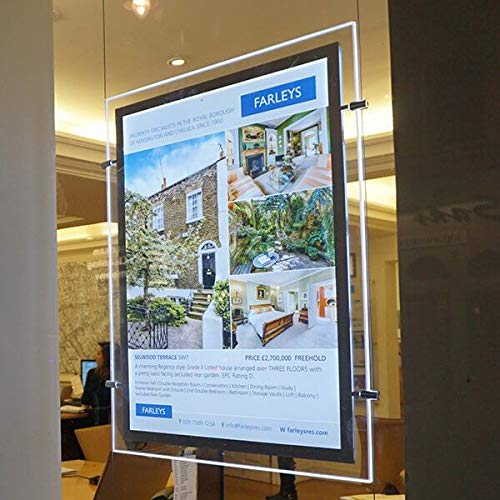 A2 Portrait Crystal Acrylic Led Backlit Real Estate Window Hanging Display Light Box Frame Sign Holder Advertising Display (Vertically, 1pcs A2 a raw)