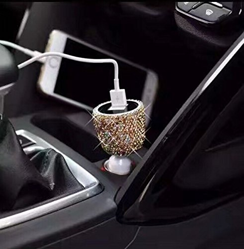 TISHAA Bling Handmade Dual USB Car charger Designed for Apple and Android Devices (Large, Gold)