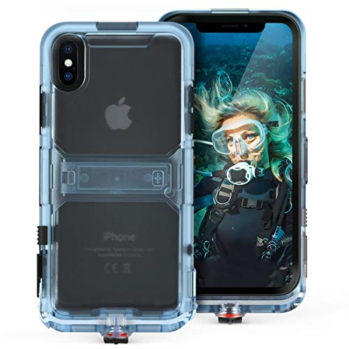 Generic Waterproof Case Compatible with iPhone Xs iPhone X Shockproof Case Full Sealed IP68 Certified Waterproof Shockproof Snowproof Protection Underwater Dry Bag Compatible for iPhone X/XS (Black)