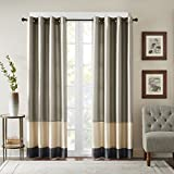 Cheap Bombay Black Curtains For Living Room, Modern Contemporary Grommet Curtains For Bedroom, Conner Pieced Fabric Light Window Curtains, 50X95, 1-Panel Pack