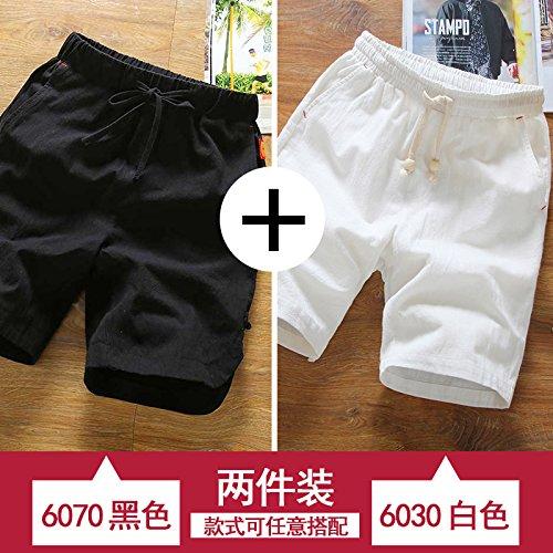 noir and blanc XL HAIYOUVK courtes Hommes's été Loose Pants Solid Couleur été Décontracté Pants Hommes's Thin Section Sports plage Pants Hommes's Pants