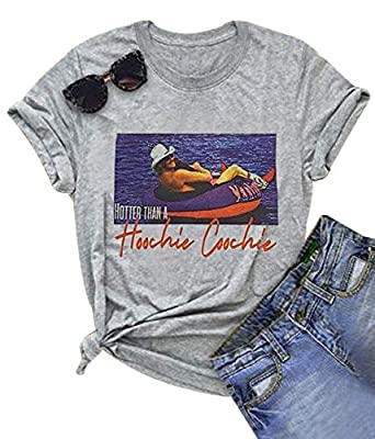 Hotter Than a Hoochie Coochie Shirt Country Music Funny T-Shirt Tops for Women Vintage Graphic Short Sleeve Tees