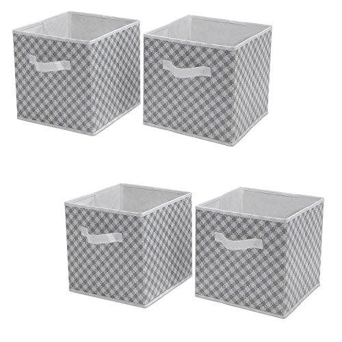 Delta Children 4-Pack Deluxe Water-Resistant Storage Cubes, Gingham/Grey