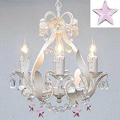 White Iron Empress Crystal(tm) Flower Chandelier Lighting w/ Pink Crystal Stars! - Nursery, Kids, Girls Bedrooms, Kitchen, Etc!