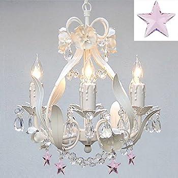 White Iron Empress Crystal(tm) Flower Chandelier Lighting w/ Pink ...