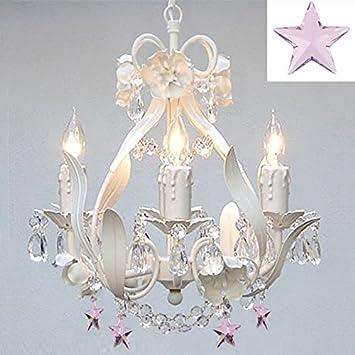 White iron empress crystaltm flower chandelier lighting w pink white iron empress crystaltm flower chandelier lighting w pink crystal stars aloadofball Images