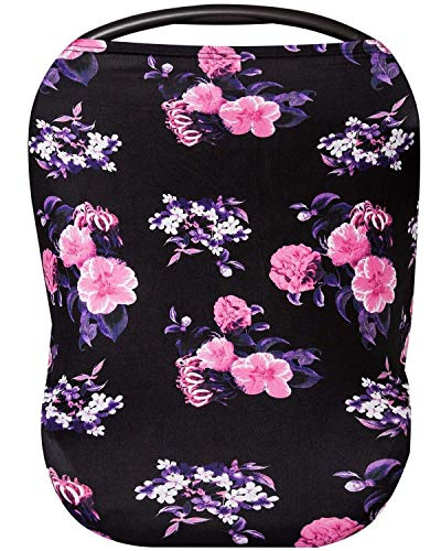 (Premium Soft Floral Black Multi-Use Cover for Nursing and Carseat Canopy, Baby Car Seat, Breastfeeding Scarf, Shopping Cart - 4 in 1 Nursing Cover - Best Baby Shower Gift Set - Floral Black and Pink)