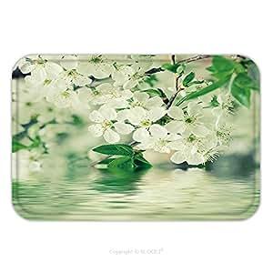 Franela de microfibra antideslizante suela de goma suave absorbente Felpudo alfombra alfombra alfombra flor de cerezo Flores en la primavera de tiempo con Verde Hojas y agua reflexión Macro 219626512para interior/al aire libre/B