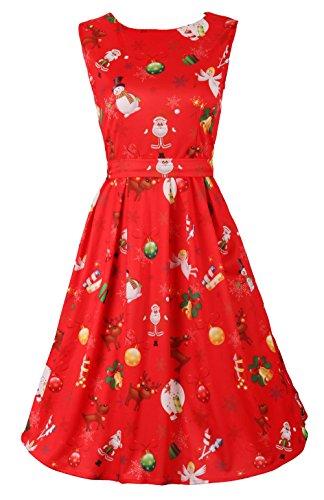 DREAGAL Sleeveless Christmas Xmas Gifts Print Swing Dress RedReindeer L