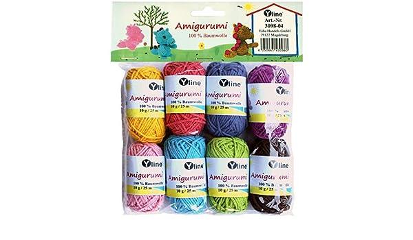 Juego de ovillos de lana Amigurumi de Yline. 10 g, 100% algodón, hilo, lana de punto, hilo de ganchillo, 3098-04: Amazon.es: Hogar