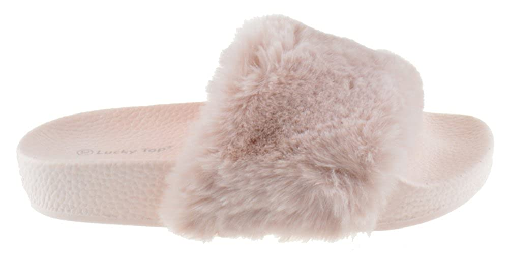 Lucky Top Pillow 1K Little Girls Faux Fur Softy Slip On Slider Sandals