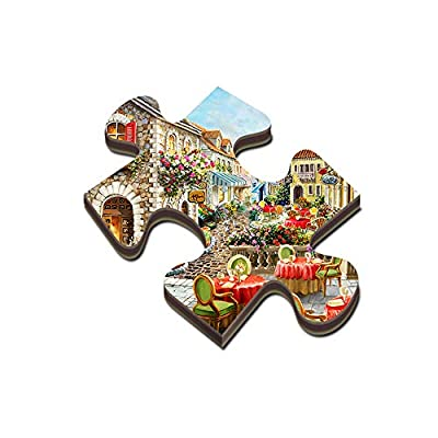 Qbylyf Adult Jigsaw Puzzle 1000/500/300 Piece Puzzle Wood Made Santorini Thera Thira Greek Island Cliff Precipice Sea View Wooden Jigsaw Puzzle (Size : 1000 Tablets): Home & Kitchen
