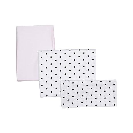 Be Dots - Juego de 3 sabanas para capazo, niñas, color rosa
