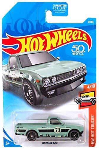 Hot Wheels 2018 50th Anniversary HW Hot Trucks Datsun 620 9/365, Pale Green