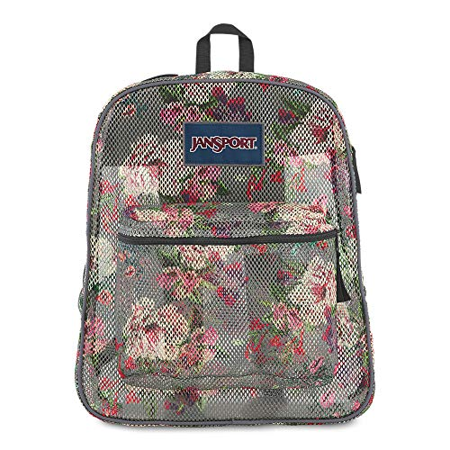 JanSport Mesh Pack - See Through Backpack | Grey Bouquet Print
