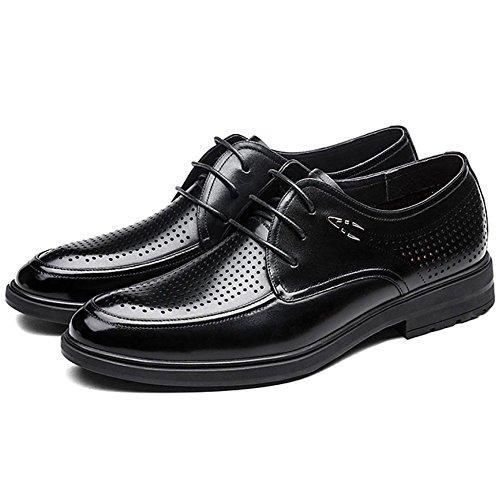 Appartements en Respirant Chaussures Brun Lacets Occasionnels Bas Affaires à Haut Black Noir D'été RENHONG Trous Bout Cuir Hommes Hommes Rond pour 6wnqpZ0qT
