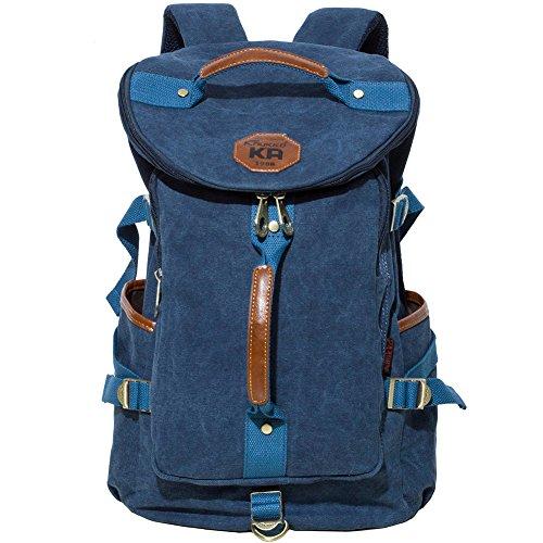 KAUKKO Multipurpose Retro Canvas Backpack Travel Daypack Hiking Shoulder Handbag Backpacks Blue