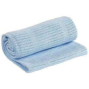 Adore Home 100% Cotton Cellular Soft Baby Blanket for Cot Pram Moses Basket, Blue, 60x90cm