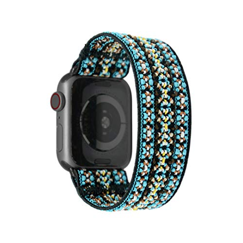 Tefeca Orchid Embroidery Pattern Elastic Compatible/Replacement Band for Apple Watch 38mm 40mm 42mm 44mm (Black Adapter for 42mm/44mm Apple Watch, Wrist Size : 5.5-5.9 inch (L1))
