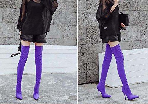 Purple Eu del 34 puro Stretch colore Stivali ginocchio 11cm Scarpin Stivali Stovepipe alti Donna Calzini Stivali lunghi Stivali 40 puntato Stivali punta Dress Dimensione gxRFqq1