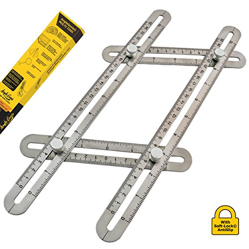 Introducing AngleGenie Stainless Steel Template Tool with Unique Soft-Lock, Professional Heavy Duty Angle Finder Tool Ruler That Measures and Transfers Complex Angles, Shapes and Forms