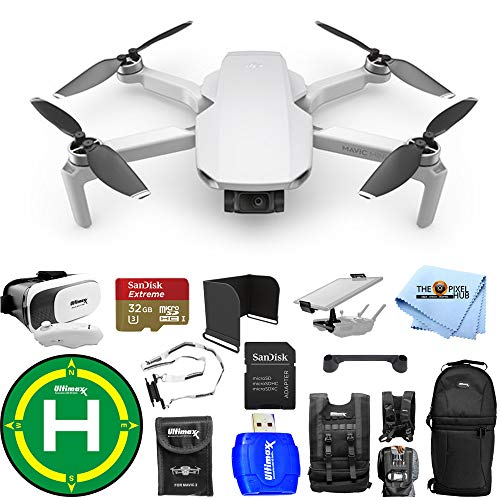 DJI Mavic Mini Portable Drone Quadcopter Outdoor Bundle with 32GB MicroSD, Sling Backpack, Drone Vest, Landing Pad, VR Goggles and Much More