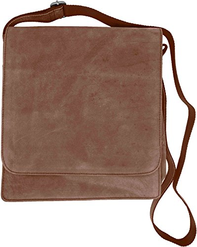 (Genuine Cowhide Brown Leather Vertical Laptop Messenger Shoulder Bag)