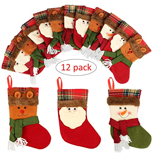 Holiday Stocking Holder (Aiduy 12 Pack Mini Christmas Stockings Silverware Holder Pockets Gift Treat Card Bags with 3D Santa Snowman Reindeer Mantle Xmas Stocking for Christmas Decorations and Party Favors, 7 Inch)