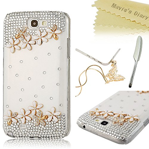 Note 2 Case, Galaxy Note 2 Case - Mavis's Diary 3D Handmade Bling Crystal High Heels Sparkle Glitter Diamond Bow Rhinestone Case Hard Cover for Samsung Galaxy Note 2 N7100 I605 L900 I317 T889 T-Mobile Version with Soft Clean Cloth (One Case&One Golden Bling Butterfly Dust Plug&One Feather Stylus Pen)