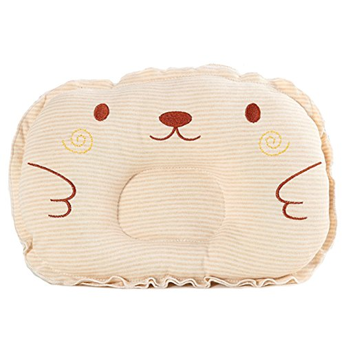 Baby pillow - 100% Cotton Hand Made Baby Sleeper Pillow - Newborn Head Shaping Pillow - Soft and Breathable Infant Pillow - Prevents Flat Head - Bear Orange (Orange Soft Bear)