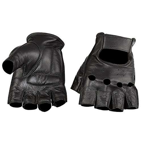 NEW PRODUCT Viking Cycle Men's Premium Leather Half Finger Motorcycle Cruiser Gloves (Large, Black)