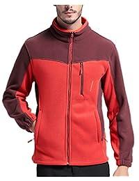 Men's Winter Classic Zip Front Solid Fleece Lightweight Jacket