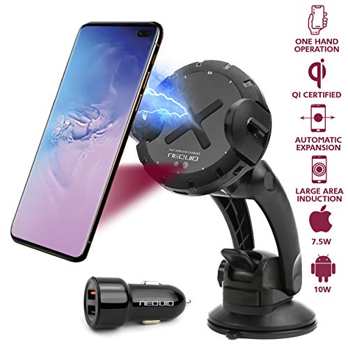 - NEQUIO X Fast Wireless Charger, Charging Car Mount with IR Sensor – Premium Automatic Phone Holder for iPhone XS Max, XR, 8 Plus, Samsung Note 8/9, S10, S9, S8, S7, S6, Huawei P30 Pro & Qi Smartphones