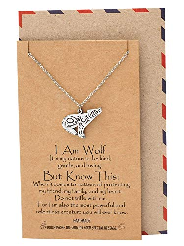 - Quan Jewelry Loving Wolf Pendant Necklace, Birthday Gifts for Women with Inspirational Quote and Prayer