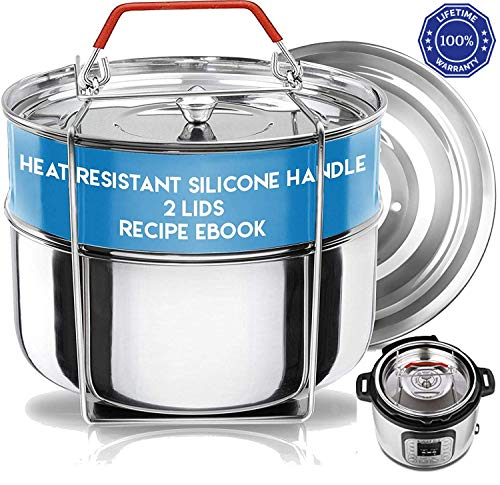 Stackable Instant Pot Insert - Pressure Cooker Accessories- Steamer Inserts Pans -Instant Pot Accessories 6 Qt | 2 Lids- Food Steamer w/Sling for Baking, Reheating Recipe e-Book & Safety Handle (Cooker Pressure Dabba)