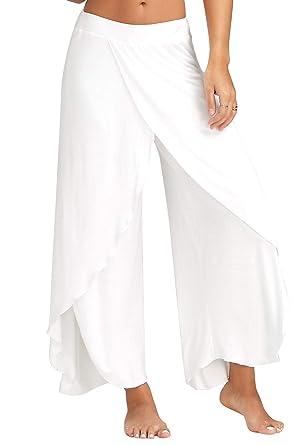 Femme Pantalon Yoga Harem Bloomer Sport Pantalon Fitness Jogging Large Jambe  Couleur Uni Casual 1843aa80f13