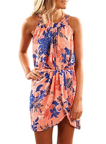 Sidefeel Women Floral Print Halter Draped Sleeveless Beach Mini Dress Medium Orange